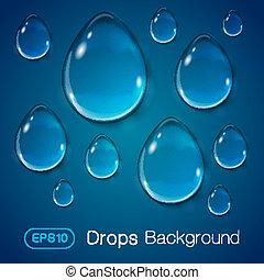 blå, bakgrund., droppar, flytande
