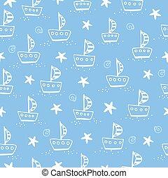 blå, bakgrund., skepp, illustration