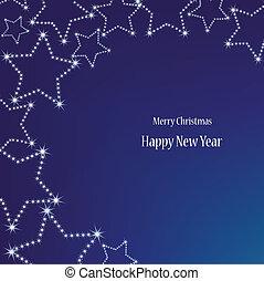 blå, bakgrund., vektor, jul, stjärnor