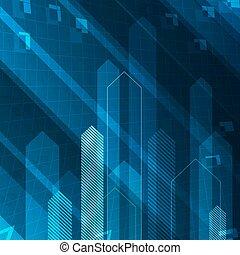 blå, begreb, succesrige, abstrakt, pile, oppe, illustration, baggrund., teamwork, teknologi, eller