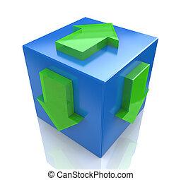 blå, begrepp, direction., pekande, illustration, kub, pil, 3
