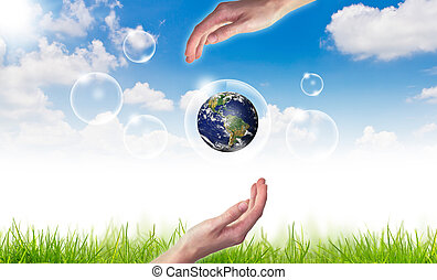 blå, begrepp, eco, sol, klot, sky, mot, hand, :, bubblar, hålla