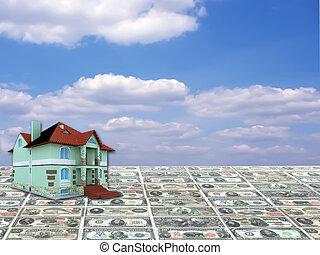 blå, begrepp, hus, sky, bakgrund, pengar, 3