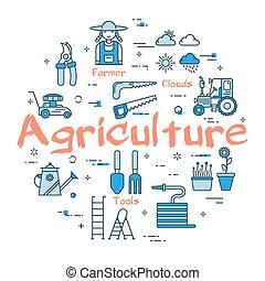 blå, begrepp, lantbruk, runda