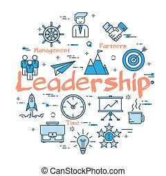 blå, begrepp, runda, ledarskap