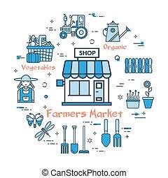 blå, begrepp, runda, marknaden, bönder