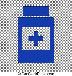 blå, beholder, medicinsk, baggrund., tegn., transparent, ikon
