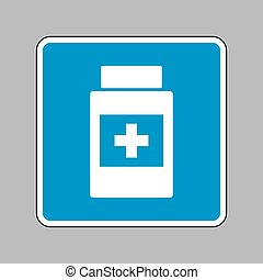blå, beholder, medicinsk underskriv, baggrund., hvid, tegn., ikon
