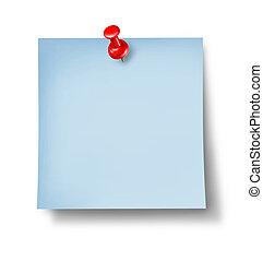 blå, bemærk, kontor, blank