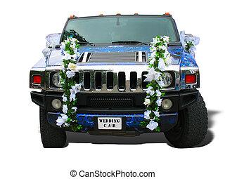 blå bil, bröllop, lyxvara, utsirad, dröm