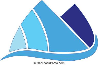 blå bjerg, ikon, vektor, konstruktion, selskab