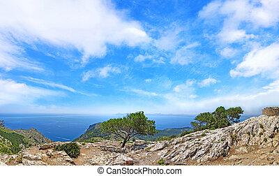 blå bjerg, panorama, himmel, ocean udsigt