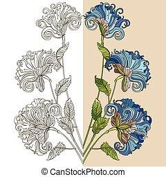 blå blommar