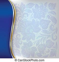 blå, blommig, abstrakt, prydnad, bakgrund