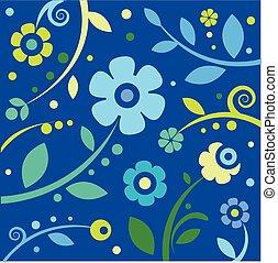 blå, blommig, bakgrund