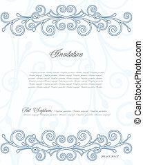 blå, blommig, vektor, bakgrund, design.