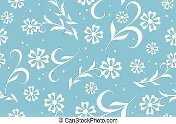 blå, blommig, vektor, seamless, mönster