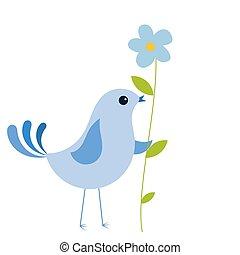 blå blomstr, fugl