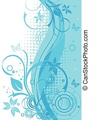 blå, blomstrede, abstrakt, baggrund