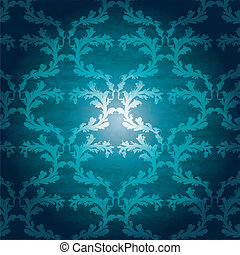 blå, blomstrede, seamless, baggrund
