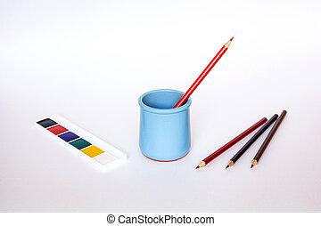 blå, blyant, sæt, æn, pencils., baggrund, hvid, vase, rød