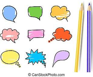 blå, blyertspenna, sätta, färgrik, isolated., gul, realistisk, vektor, bubblar, prata