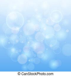 blå, bokeh, abstrakt, lätt, bakgrund.