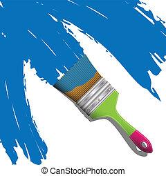 blå, borsta, måla