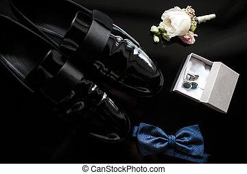 blå, bowtie, boutonniere, skor, nymodig, uppe, accessories., svart, nära, manschettknapp, man