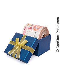 blå boxa, klippning, vertikal, stor, rmb, bana, stack, gåva