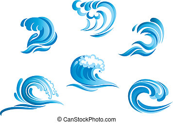 blå, bränning, sätta, vågor, ocean