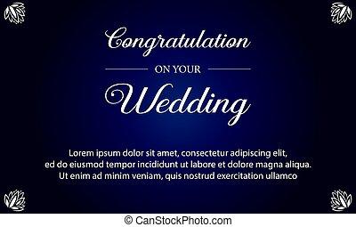 blå, bröllop, bakgrund, kort, inbjudan