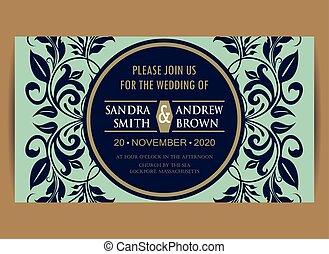 blå, bröllop, marin, inbjudan, blommig, kort
