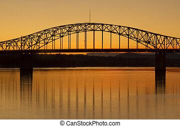 blå, bro, över, den, columbia flod, in, kennewick,...