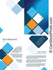 blå, broschyr