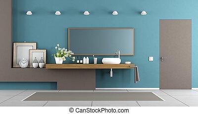 blå, brun, badrum, nymodig