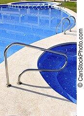 blå, bubbelpool, utomhus- slå samman, simning