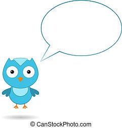blå, bubbla, anförande, fågel
