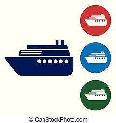 blå, buttons., färg, vit, isolerat, vektor, bakgrund., sätta, illustration, cirkel, skepp, ikon