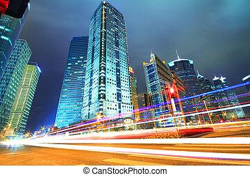 blå, bygninger, moderne, kontor, fjerneste, shanghai, drømmeagtige, nat, øst