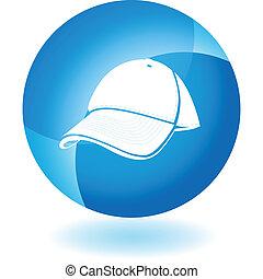 blå cap, baseball, transparent, ikon