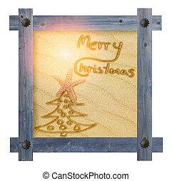 blå, centrera, bakgrund, fingernagel, sol, ram, solig, träd, Trä, form, mot, munter, vit, sandig, ord, jul