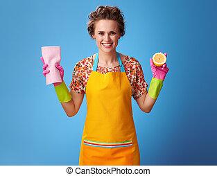 blå, citron, hemmafru, tyg, rensning, holdingen, halvt, le