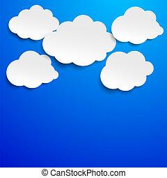 blå, cloudscape, sky, etikett