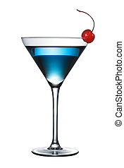 blå, cocktail, isoleret, (pen, sti, included)