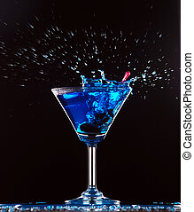 blå, cocktail, plaska