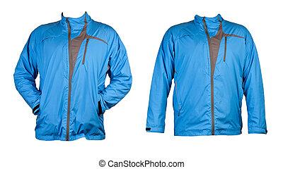 blå, collage, jacka, två, sports