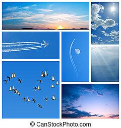 blå, collage, sky-related, avbildar