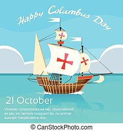 blå, columbus, himmel, ocean vand, skib, ferie, dag, glade