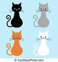blå, cute, forskellige, katte, isoleret, illustration, kat, baggrund., vektor, samling, yndlinger, ansigter, hjem, colors.